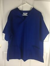 Natural Uniforms XL Blue Scrub Top Short Sleeve Front Pockets Pullover