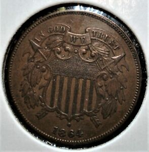 "1864 Two Cent Piece, ""Large Motto"" Variety, Very Nice Detail"