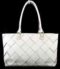 NWT ANTONIO MELANI MELINDA OSTRICH LEATHER LARGE SHOPPER SHOULDER TOTE WHITE