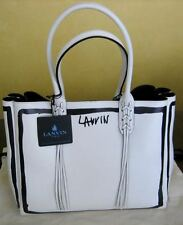 LANVIN $1850 NEW WHITE LEATHER LOGO SHOPPER TOTE BAG W/REMOVABLE LEATHER POUCH