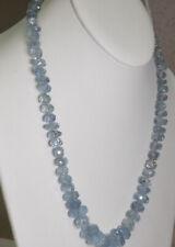 """Blue Topaz Necklace 14K White Gold Clasp 21"""" Long 71.6 Grams WHOLESALE"""