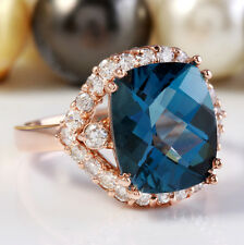 6.80CTW Natural London Blue Topaz and Diamonds in 14K Rose Gold Ring