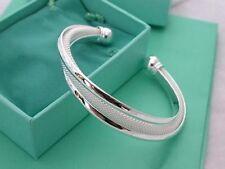 New Fashion Women Female Jewelry 925 Sterling Silver Bangles Cuff Bracelet