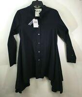 AVN Designer Button Up Shirt Black IT 42 US 6 Dress Flair Out Cotton New NWT