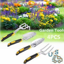 Garden Tool Set 4 PC Heavy Duty Cast-Aluminum Heads Gardening Kit WF