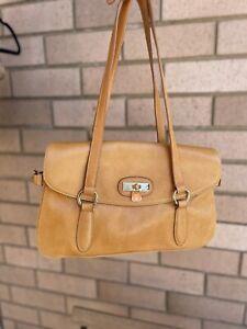 Rhia Liza Tan leather Shoulder Hand Bag