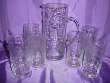 Nordic Water Set Glasses Jug 7 Piece Handmade Glass New in Box