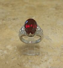 VICTORIA WIECK ABSOLUTE CREATED RUBY AND PAVE STERLING SILVER RING SIZE 7 HSN