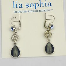 Genuine Lia Sophia jewelry silver plated blue cut crystal drop dangle earrings