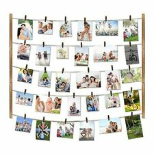 Wooden Picture Photo Frame Wall Decor 26×29 Inch With 30 Clips Collage Artwork