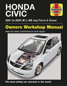 Honda Civic Petrol & Diesel (01 - 05) Haynes Repair Manual