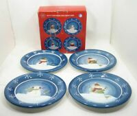 "Lot/4 Sonoma Life Style Salad Dessert Plates SNOWMAN Design Blue Background 8"""