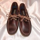 New Timberland LEATHER Women's 11 Wide Classic Amherst Boat Shoes Dark Brown