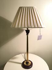 COPPIA LAMPADE DA TAVOLO IN OTTONE ANTICATO, PARALUME IN SETA - BAGA NUOVO