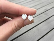 White Fire Natural Opal Stud Earrings 7mm Sterling Silver 925 Heart Love Pair
