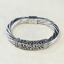 """6.5"""", Italy sterling silver cable cuff Bangle bracelet, Stamped 925"""