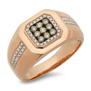Mens 0.57 CT 14K Rose Gold Square Top Round Champagne Diamond Mans Band Ring