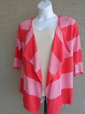 NWT $50.KIM ROGERS OPEN FRONT LIGHTWEIGHT DRAPE SWEATER CORAL & WHITE STRIPES M