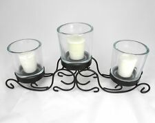 Candlelabra, Wrought Iron Centerpiece Glass Votive Candle Holder for Wedding