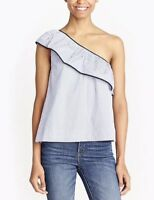 New J Crew Womans Sz 14 One Shoulder Top Stripes Ruffle Blouse Stretch NWT