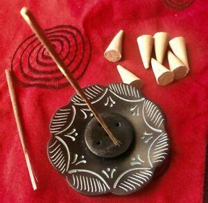 Carved stone incense stick holder plate ash catcher
