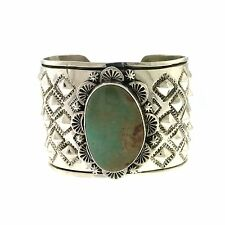 Navajo L.A. Willie Wide Sterling Silver Repousse Nevada Turquoise Bracelet Cuff