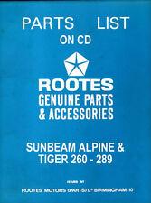 Sunbeam Alpine Parts List 6600992 & Tiger 260-289 Supplement 6601334