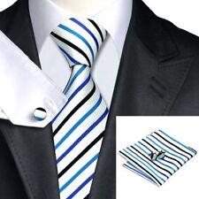White Blue Black Stripes 100% Pure Silk Neck Tie Cufflink and Handkerchief Set