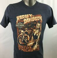 Harley Davidson T Shirt Men Sz Med Live to Ride Motorcycles Woman Skull Print