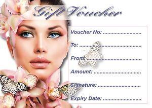 Blank Beauty Salon Gift Card x10 + Free Envelopes.... .