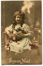 CPA - Carte Postale - Fantaisie - Joyeux Noël - Petite Fille - Fleurs - 1919