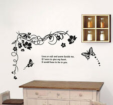 Black Vine Butterfly Wall Stickers Removable Kids Nursery Room Decal Home Decor