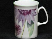 ROSE of ENGLAND WATERCOLOR PURPLE FLOWER Fine Bone China Cylinder Medium Mug