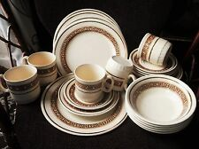 RETRO ENGLISH IRONSTONE BEIGE BROWN BREAKFAST LOT CUPS PLATES BOWLS SAUCERS 28PC