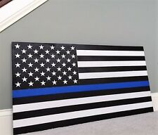 "36"" x 19"" Large Hand-Crafted Thin Blue Line Wood American Flag for our Police"