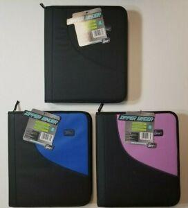 "Zipper Binder TechGear 1.5"" 3 Rings, You Pick the Color Pink, Black, Blue School"