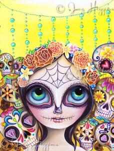 Sugar Skull Princess Art Print SIGNED & dated by artist Jaz Higgins Mexican Girl