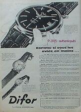 PUBLICITE DIFOR MONTRE MONTRE BRACELET CADRAN LUMINEUX BESANCON 1960 FRENCH AD
