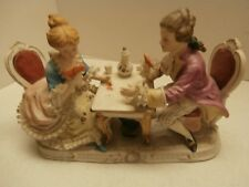 A FINE ANTIQUE PORCELAIN DRESDEN STYLE LACEGROUPOF COUPLE PLAYING CARD JAPAN