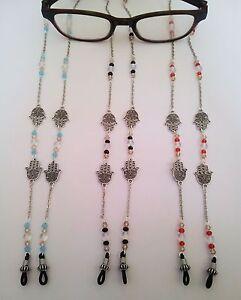 Silver Hamsa Eye Glasses Holder Lanyard Fashion Necklace Chain Crystals HANDMADE