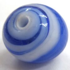 10 x 12mm Lampwork Glass Round Beads - Blue and White - A4313