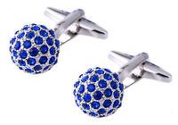 Sapphire Blue Swarovski Crystal ball Cufflinks Men wedding Gift CUFFLINKS DIRECT