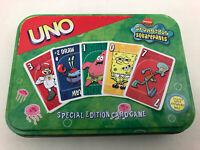 UNO Spongebob Squarepants Special Edition Card Game Tin Nickelodeon Mattel