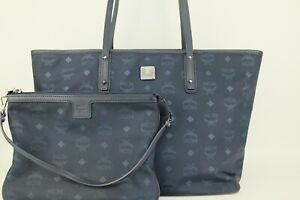 100% Authentic MCM Blue Visetos Large Shopper Shoulder Bag With Pouch + Dust Bag
