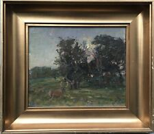 Oil Painting Evening Light with Fallow Deer Naturalist Impressionist Harald