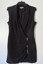 Jennifer Hope Black Zipper Wrap Mini Dress w/ Ruched Front SIZE:M NWOT