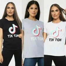 New Women's Ladies TikTok Short Sleeve T shirt Viral Music Videos Top UK 8-14