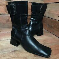 Vintage Nine West Women's Black Leather Boots Chunky Block Heel Size 7 M