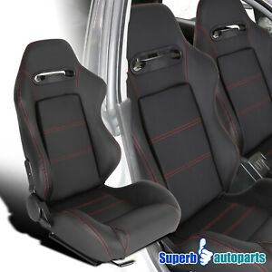 Right Side All Black Red Stitching Bucket Sporty Racing Seat PVC Leather