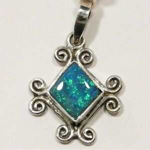 """OPAL PENDANT BLUE DOUBLET S.SILVER 20 X 18mm 9CT """"NEW"""" AUZ MADE SS22"""
